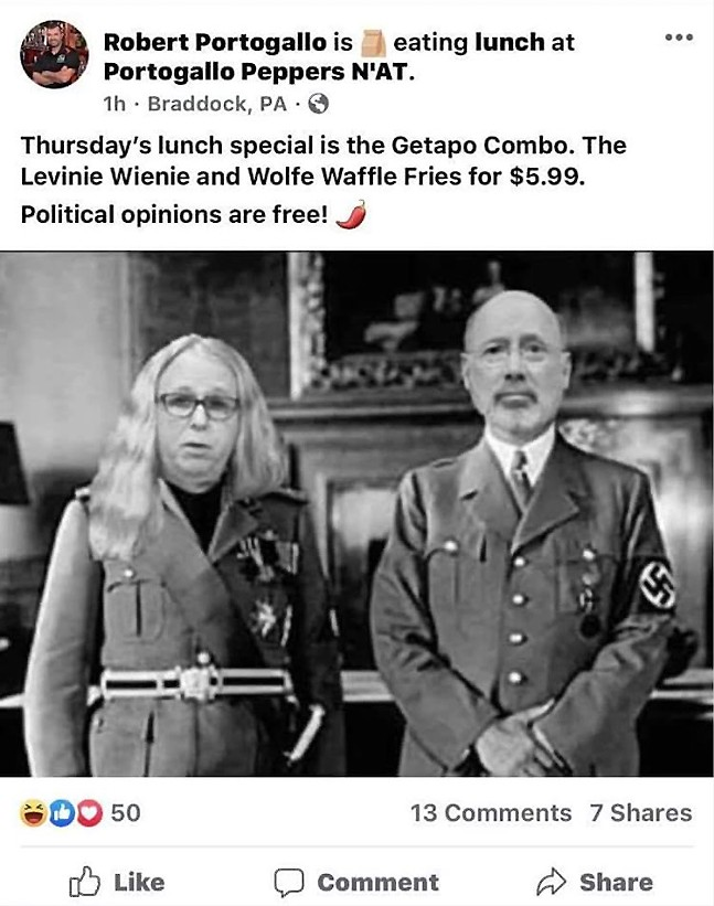 Robert Portogallo's Facebook post