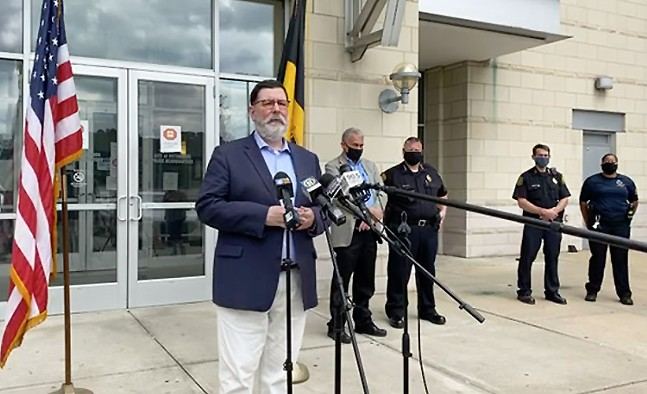 Screencap of Mayor Bill Peduto addressing Saturday's events during the City of Pittsburgh's live press conference on Sat., Aug. 15, 2020.