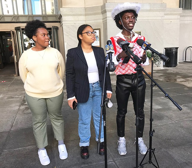 Leaders of Black, Young, & Educated hold a press conference in front of Pittsburgh's City-County Building. - CP PHOTO: RYAN DETO