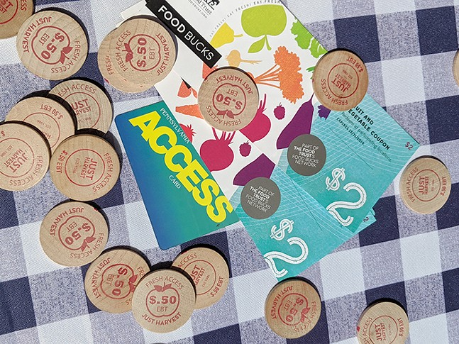 Just Harvest tokens, EBT card, and Food Bucks - PHOTO: COURTESY OF JUST HARVEST