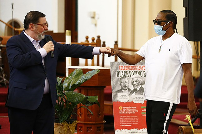 Pittsburgh Mayor Bill Peduto speaks during the Jubilee Parade Memorial Service and Black Voting Rights Forum on Sat., Aug. 29, 2020. - CP PHOTO: JARED WICKERHAM