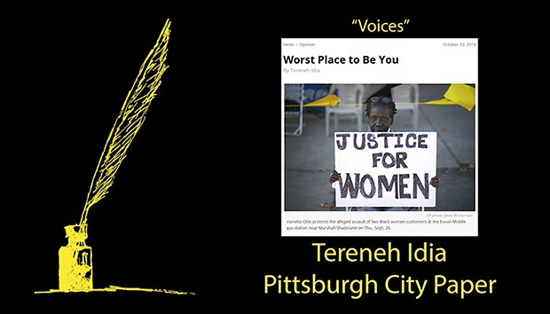 Screencap from Tereneh Idia's award announcement at the 2020 Golden Quill awards