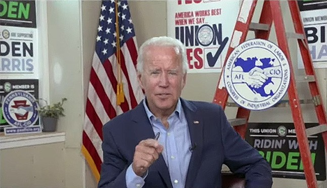 Screencap of Joe Biden's Labor Day SPeech