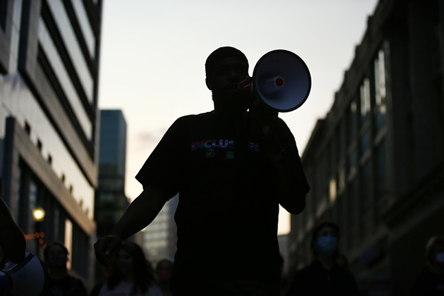 F.J.E. protesters march through Downtown Pittsburgh on Wed., Sept. 9, 2020. - CP PHOTO: JARED WICKERHAM