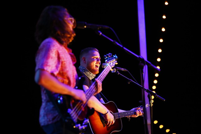 Nick Guckert (left) and Edward Angelo (right) of The Living Street perform. - CP PHOTO: JARED WICKERHAM