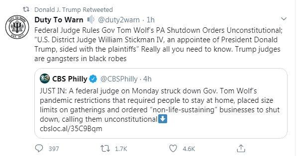 Trump retweeted this anti-Trump tweet on Sept. 14 - SCREENSHOT TAKEN FROM TWITTER
