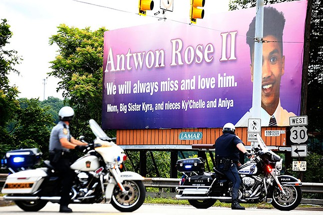 A billboard in honor of Antwon Rose Jr., photographed during a march and balloon release on the two-year anniversary of his death, on Fri., June 19, 2020. - CP PHOTO: JARED WICKERHAM