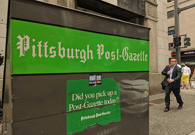 Pittsburgh Post-Gazette stand in Downtown Pittsburgh - CP PHOTO: LISA CUNNINGHAM