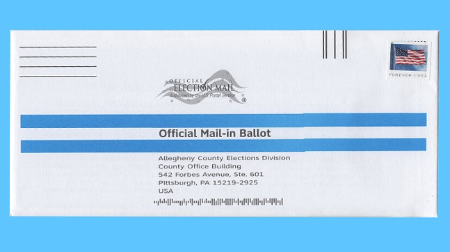 The front of a declaration envelope for Allegheny County voters. Reminder, posted is already paid for in the general election; a stamp is not neccessary. - CP PHOTO: ABBIE ADAMS