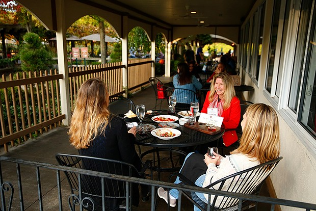 Kristine Sullivan, Anne-Marie Megela, and Hilary Chernosky drink wine while at Narcisi Winery - CP PHOTO: JARED WICKERHAM