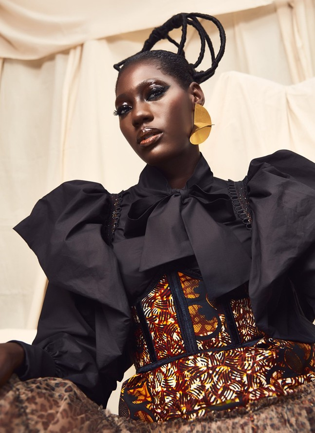 A model wears a look by Ghanaian luxury fashion brand Christie Brown. The label is one of the creatives participating in the first installment of FestivalAFRICANA. - PHOTO: COURTESY OF FESTIVALAFRICANA