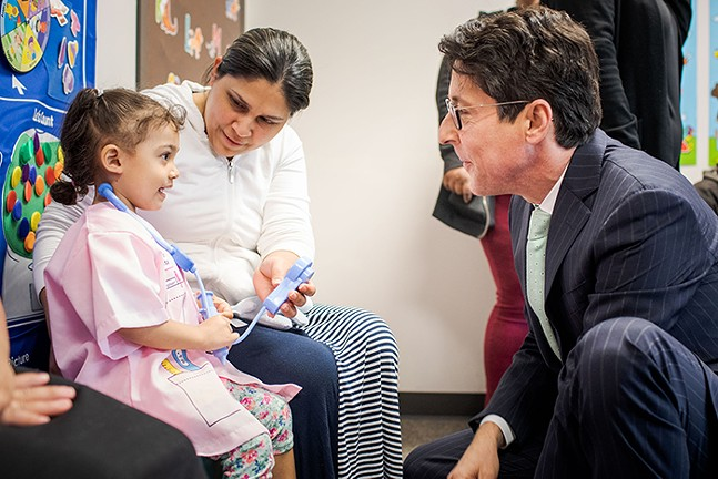 Torsella meets with children and their families of the Early Head Start program at Outreach - Center for Community Resources in Scranton, Lackawanna County in May of 2019 as part of the statewide launch of Keystone Scholars. - PHOTO: COURTESY OF PENNSYLVANIA TREASURY