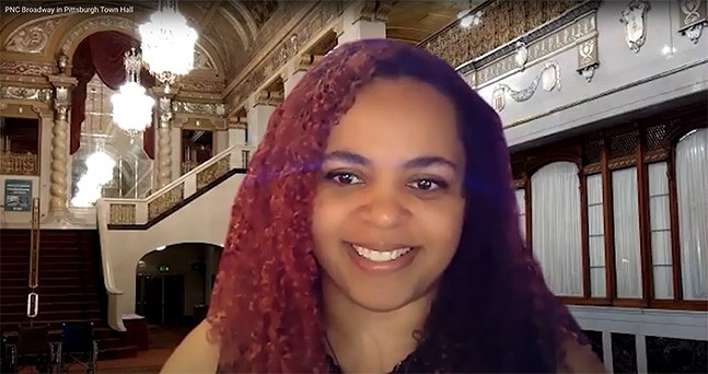 Joanna Obuzor, operations manager of the Benedum Center, during PNC Broadway's virtual Broadway Town Hall