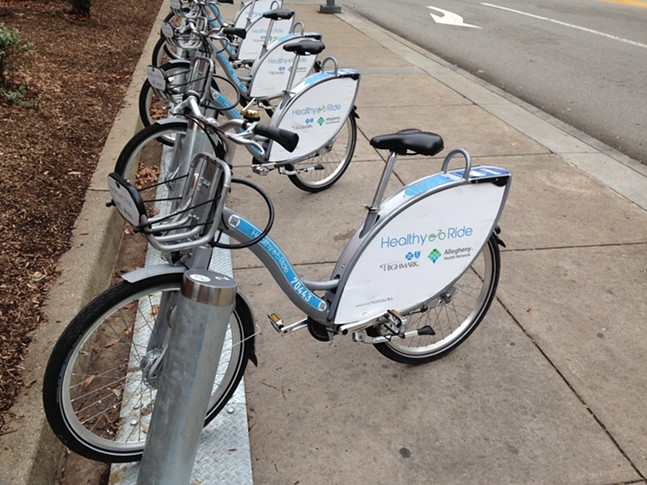 Healthy Ride bike-share station on Penn Avenue, Downtown - CP PHOTO: RYAN DETO