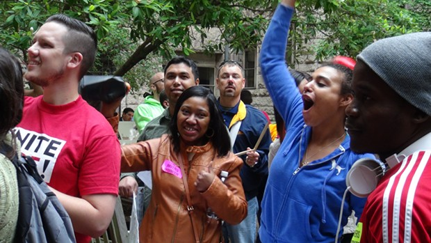 Casino workers and supporters rally in the Allegheny County Courthouse courtyard - PHOTO BY ASHLEY MURRAY