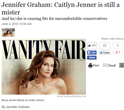 A screen capture of the Post-Gazette's Caitlyn Jenner Op-Ed.