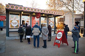 This photo was taken the day that Conflict Kitchen re-opened after death threats closed the restaurant during its Palestinian iteration. - PHOTO BY HEATHER MULL