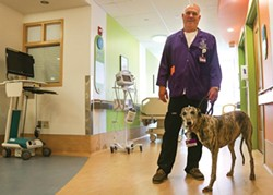 Pet therapy: David Anderson and Lulu visit patients at Children's Hospital - PHOTO BY MIKE SCHWARZ