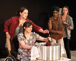 From left to right: Moira Quigley, Tressa Glover, Siovhan Christensen and Kelly Trumbull in Brewed, at No Name Players. - PHOTO COURTESY OF LUKE BRUEHLMAN