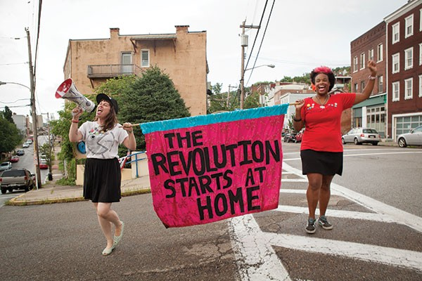 Taking it to the streets: Ladyfest Pittsburgh organizers Steph Flati (left) and Athena Kazuhiro - PHOTO BY HEATHER MULL