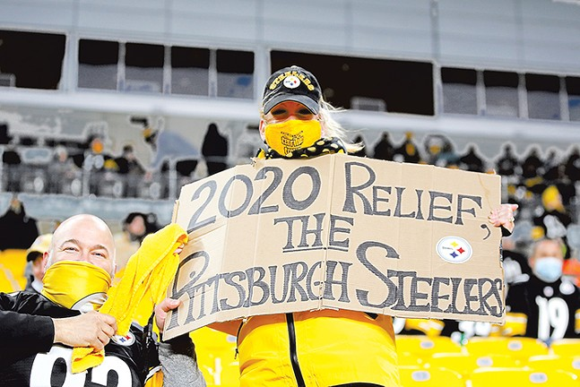 A Steelers fan holds up a sign during a home game on Sun., Nov. 15, 2020. - CP PHOTO: JARED WICKERHAM