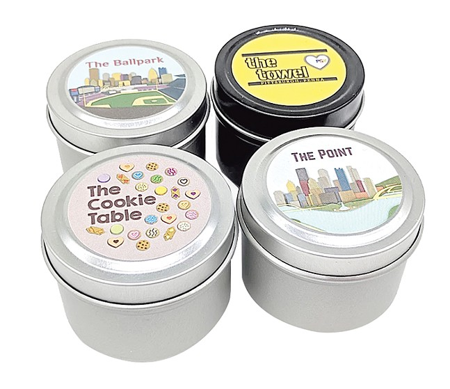 Keep your house smelling great with these North Ave Candles' Essential Pittsburgh candles, available for sale at love, Pittsburgh. - PHOTO: LOVE, PITTSBURGH