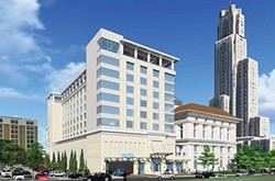 Artist's rendering of the planned hotel addition to the Pittsburgh Athletic Association, in Oakland (the version recently approved by the city's Planning Commission). The view is from Bigelow Avenue near Fifth. - IMAGE COURTESY OF PFVS ARCHITECTS