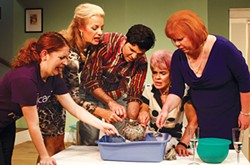 Left to right: Katy Grant, Renée Ruzzi-Kern, Noah Zamamiri, Lynne Martin-Huber and Mary Quinlan in Exit Laughing, at South Park Theatre. - PHOTO COURTESY OF JOSH REARDON OF SCORPIO ENTERTAINMENT