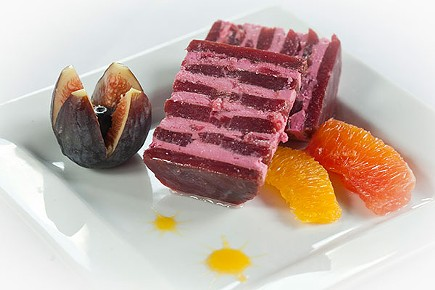 Beet timbale, with goat cheese and caramelized-onion apples; blood orange; and fig and blueberry - PHOTO BY HEATHER MULL