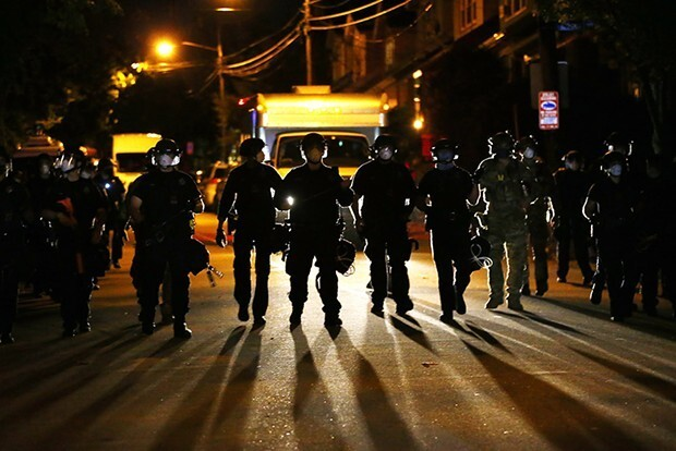 Pittsburgh Police in riot gear in August - CP PHOTO: JARED WICKERHAM