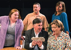 Standing, from left: Danette Levers, Vincent Marshall and Rebecca MacTaggart; sitting, Greg Caridi and Marianne Shaffer, in Little Lake's Dead Accounts - PHOTO COURTESY OF JAMES ORR