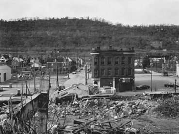 """Fifth Street Tavern and UPMC Braddock Hospital on Braddock Avenue,"" 2011 - ART BY LATOYA RUBY FRAZIER"