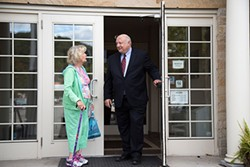 Congressional candidate Steve Larchuk speaks to resident Marge Weber outside the Sewickley Public Library. - PHOTOS BY THEO SCHWARZ