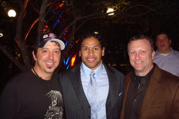 Randy Baumman from the WDVE Morning Show, Troy Polamalu, and author Jim Wexell - PHOTO: COURTESY OF JIM WEXELL