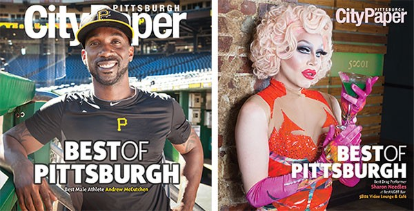 ON THE COVERS: Best Male Athlete Andrew McCutchen at PNC Park {Photo by Heather Mull} and Best Drag Performer Sharon Needles, pictured at Best LGBT Bar 5801 Video Lounge & Café {Photo by John Colombo}