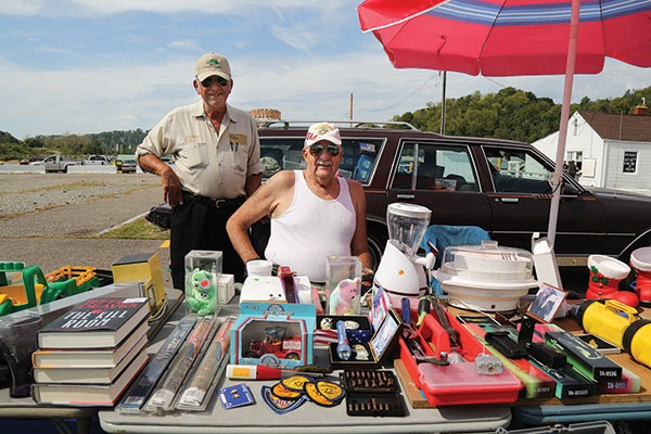 Vendors Jim Anzelone and Robert farmer have been coming to Trader Jack's for more than 30 years - PHOTO BY THEO SCHWARZ