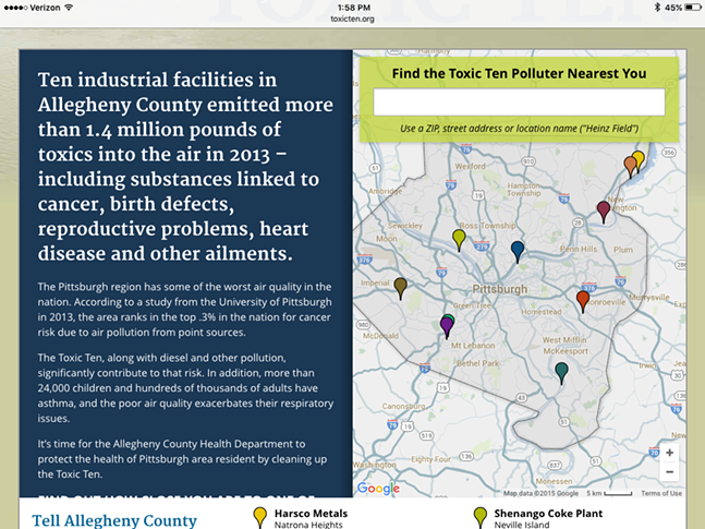 The Toxic Ten website allows users to type in their address to see how near or far they live from one of the ten largest polluters in Allegheny County. - WWW.TOXICTEN.ORG