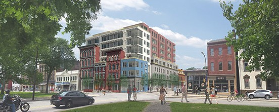 Project rendering for TREK Develepment's proposed residential building on North Street at Federal. - IMAGE COURTESY OF ROTHSCHILD DOYNO COLLABORATIVE