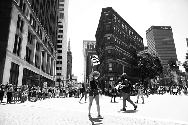 A youth-led march against police brutality and environmental racism takes place Downtown where they marched from the City County Building and throughout the city on Tue., June 16, 2020. - CP PHOTO: JARED WICKERHAM