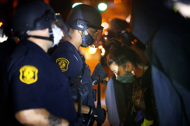 Protesters and leaders from the Black community met with Mayor Bill Peduto on his doorstep before clashing with Pittsburgh Police near Mellon Park after being told to leave the Point Breeze neighborhood on Wed., Aug. 19, 2020. - CP PHOTO: JARED WICKERHAM