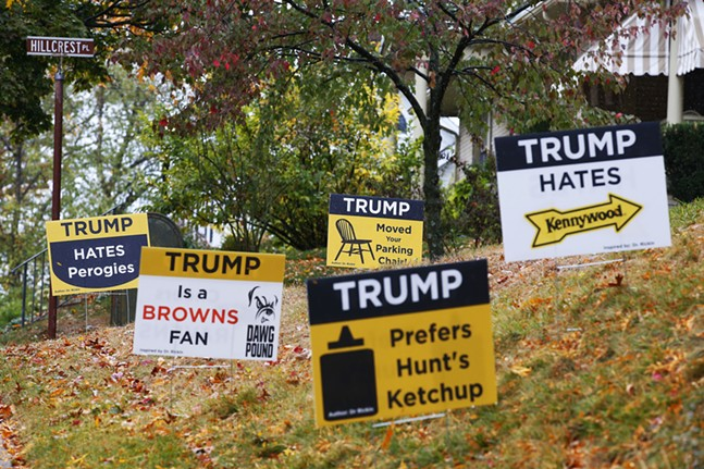 Anti-Trump election signs sit in the front yard of a Mt. Lebanon resident on Mon., Oct. 19, 2020. - CP PHOTO: JARED WICKERHAM