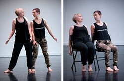 Maria Sheridan and Ru Emmons rehearse Stay Up. - PHOTO BY HEATHER MULL