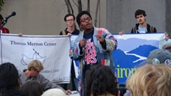 Carmen Alexander of New Voices Pittsburgh spoke at a rally outside of the federal building in Downtown Pittsburgh, where EPA hearings were taking place. - PHOTO BY ASHLEY MURRAY