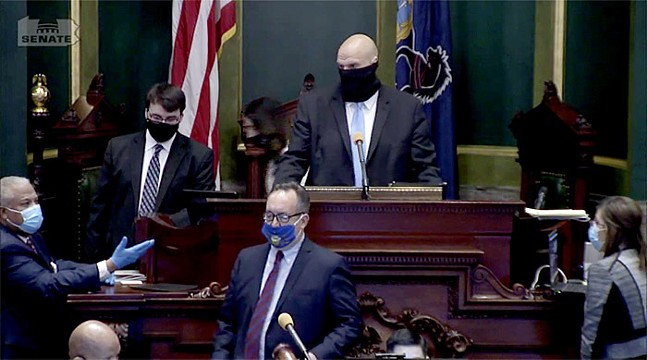 Senate President Pro Tempore Jake Corman in foreground and Lt. Gov. John Fetterman in background - SCREENSHOT OF PA. STATE SENATE LIVESTREAM
