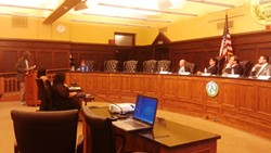 Wallace Hamilton, of Swissvale, testified at an ALCOSAN hearing on Monday night at the County Courthouse. - PHOTO BY ASHLEY MURRAY