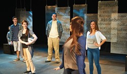 From left, facing front: Tanner Prime, Kayleigh Rozwat, James Williamson and Claire Sabatine in Good Kids at Pitt Stages - PHOTO COURTESY OF VINCENT NOE
