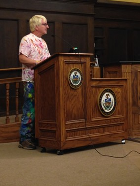 Randy Gilson, of Randyland fame, asked county council not to amend the public art ordinance to cut funding source. He was one of more than a dozen speakers in opposition to the amendement. - PHOTO COURTESY OF RYAN DETO