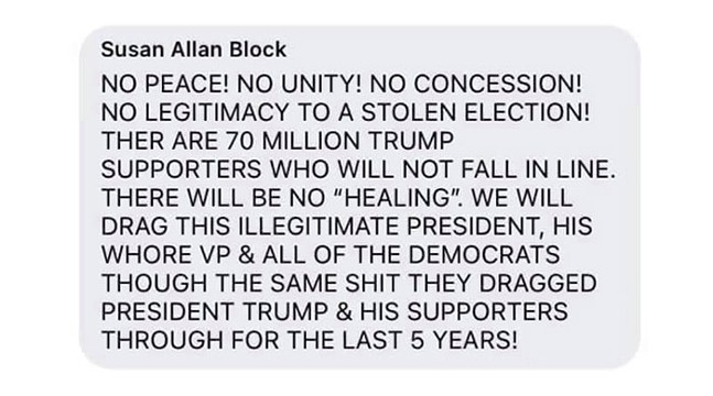 Susan Allan Block's social media post in response to criticism of the Capitol insurrection - SCREENSHOT TAKEN FROM FACEBOOK
