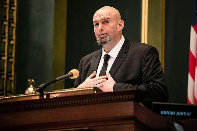 John Fetterman at 2019 inauguration of Gov. Tom Wolf - PHOTO: COURTESY OF GOV. TOM WOLF'S OFFICE