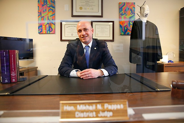 Judge Mik Pappas poses for a portrait inside his East Liberty office on Thu., Jan. 7, 2021. - CP PHOTO: JARED WICKERHAM